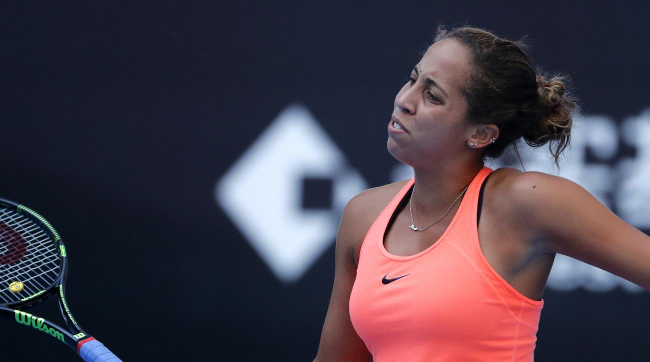 Madison Keys of the United States reacts after losing a point to Johanna Konta of Britain during the women's singles semifinals of the China Open tennis tournament at the Diamond Court in Beijing, Saturday, Oct. 8, 2016. (AP Photo/Andy Wong)