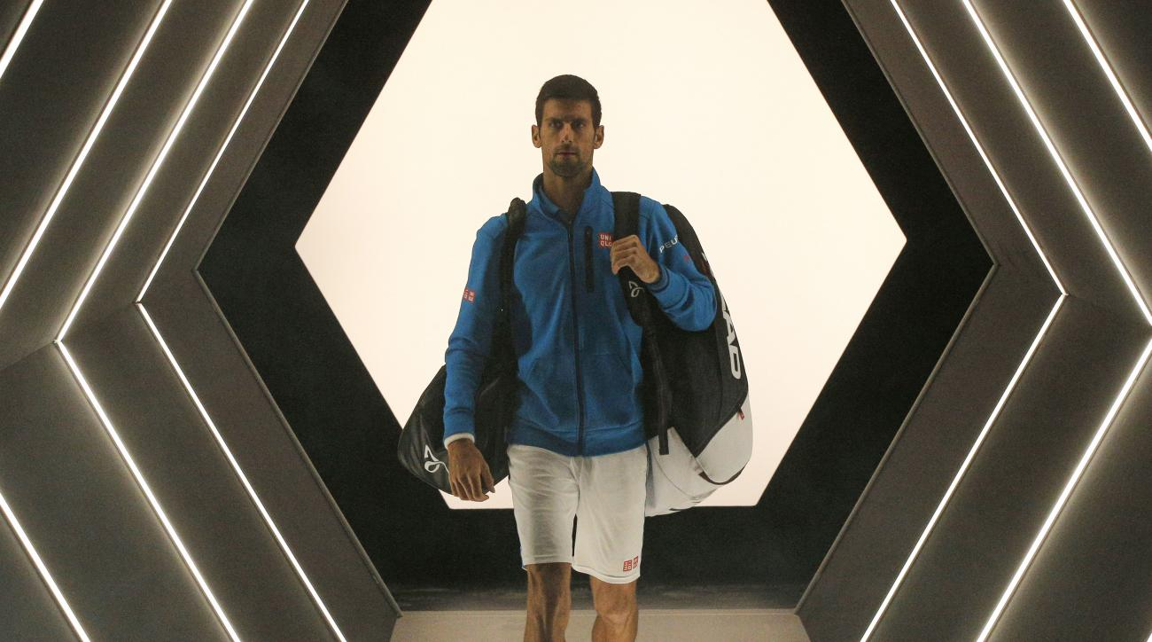 Serbia's Novak Djokovic arrives to play Luxembourg's Gilles Muller during the 2nd round of the Paris Masters tennis tournament at the Bercy Arena in Paris, Wednesday, Nov. 2, 2016. (AP Photo/Michel Euler)
