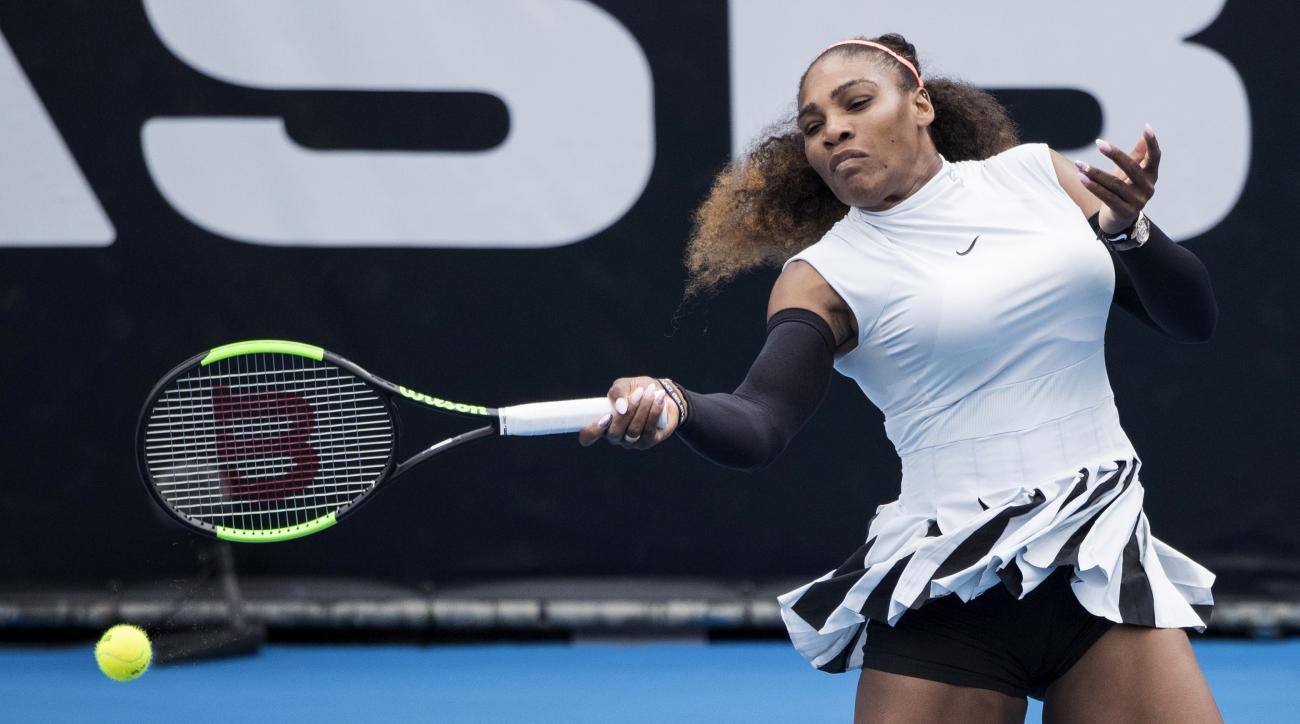 United States' Serena Williams hits a forehand during her first round match against Pauline Parmentier of France at the ASB Classic tennis tournament in Auckland, New Zealand, Tuesday, Jan 3, 2017. Williams won in straight sets 6-3, 6-4. (Jason Oxenham/Ne