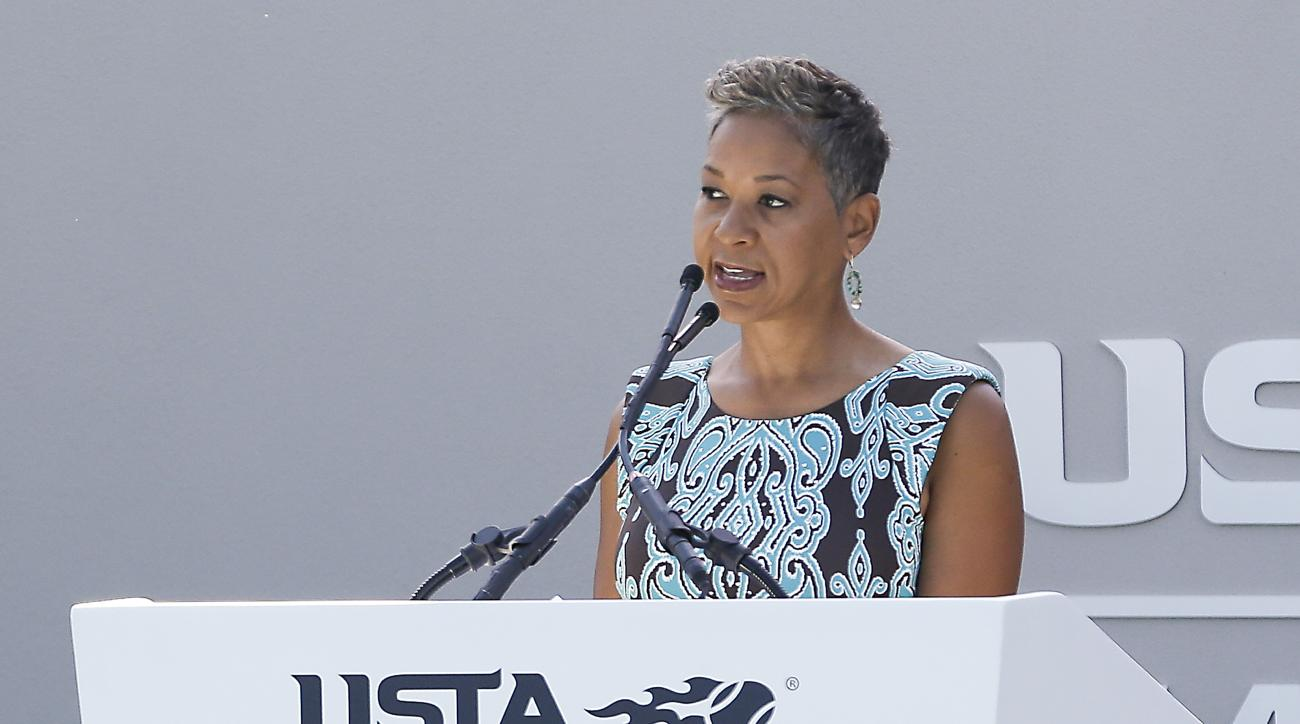 Katrina Adams, president of the United States Tennis Association makes remarks at the grand opening for its new state of the art training facility, Thursday, Jan. 5, 2017, in Orlando, Fla. The USTA is billing the facility as the new home of American tenni