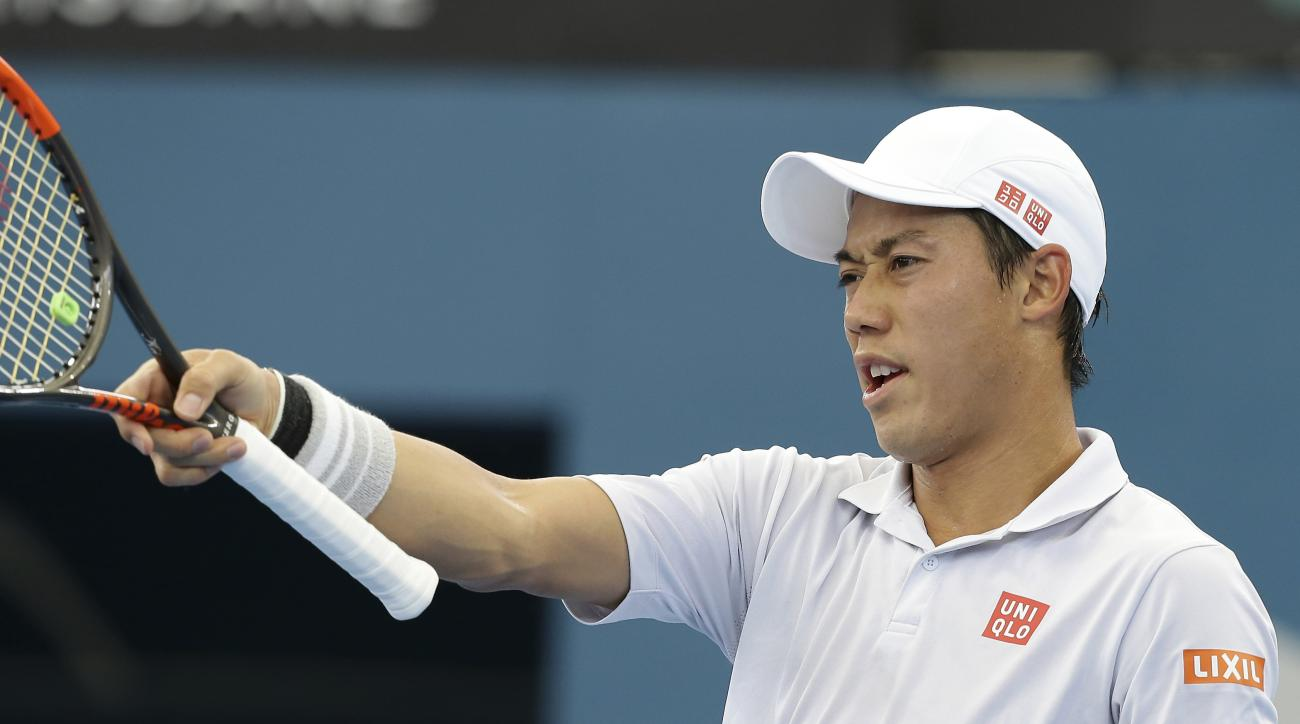 Kei Nishikori of Japan reacts after winning a point in his semi final match against Stan Wawrinka of Switzerland at the Brisbane International tennis tournament in Brisbane, Australia, Saturday,  Jan. 7, 2017. (AP Photo/Tertius Pickard)
