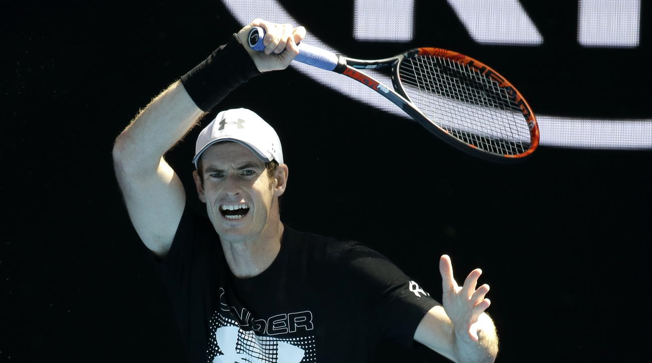 Britain's Andy Murray hits a forehand return during a practice session ahead of the Australian Open tennis championships in Melbourne, Australia, Thursday, Jan. 12, 2017. (AP Photo/Mark Baker)