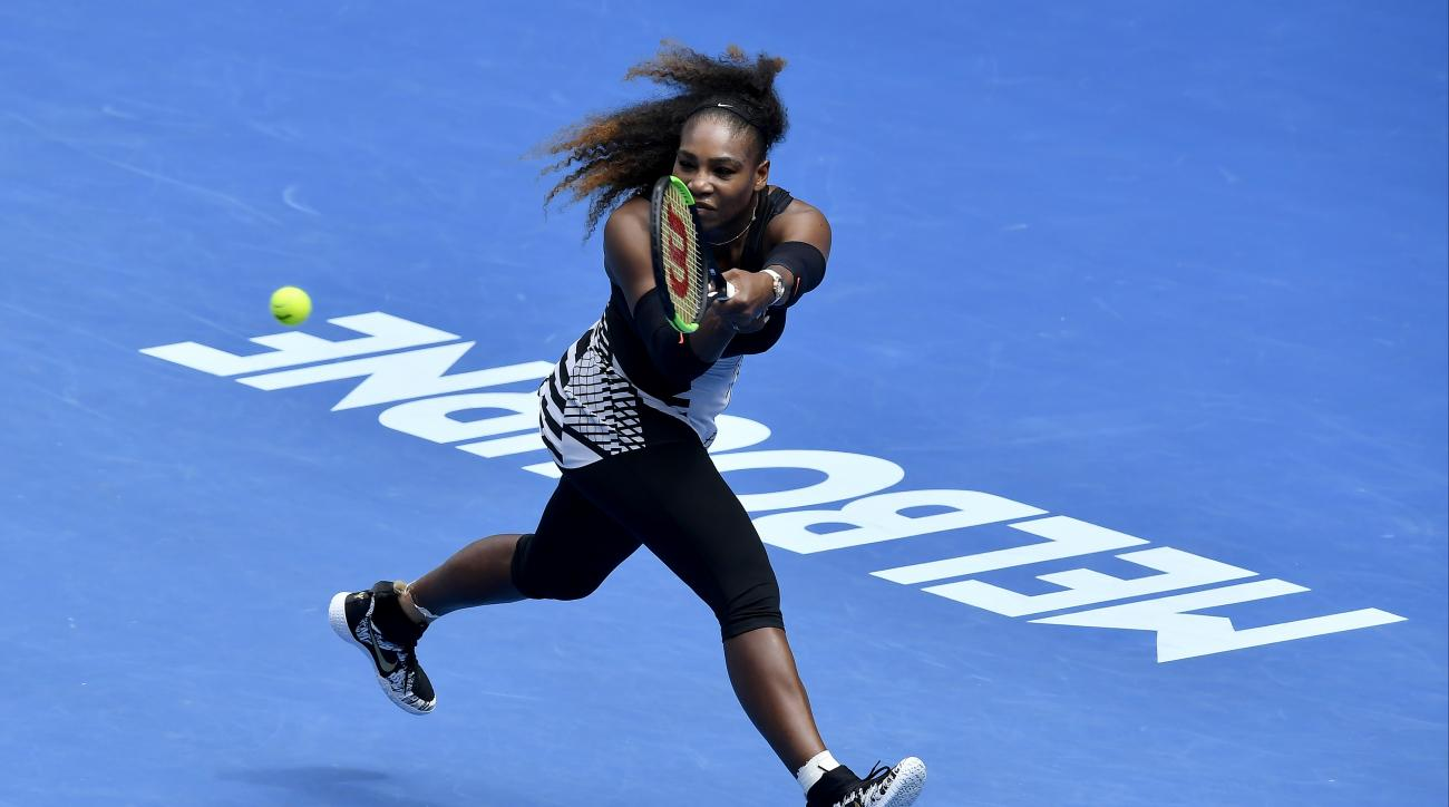 United States' Serena Williams makes a backhand return to Barbora Strycova of the Czech Republic during their fourth round match at the Australian Open tennis championships in Melbourne, Australia, Monday, Jan. 23, 2017. (AP Photo/Andy Brownbill)
