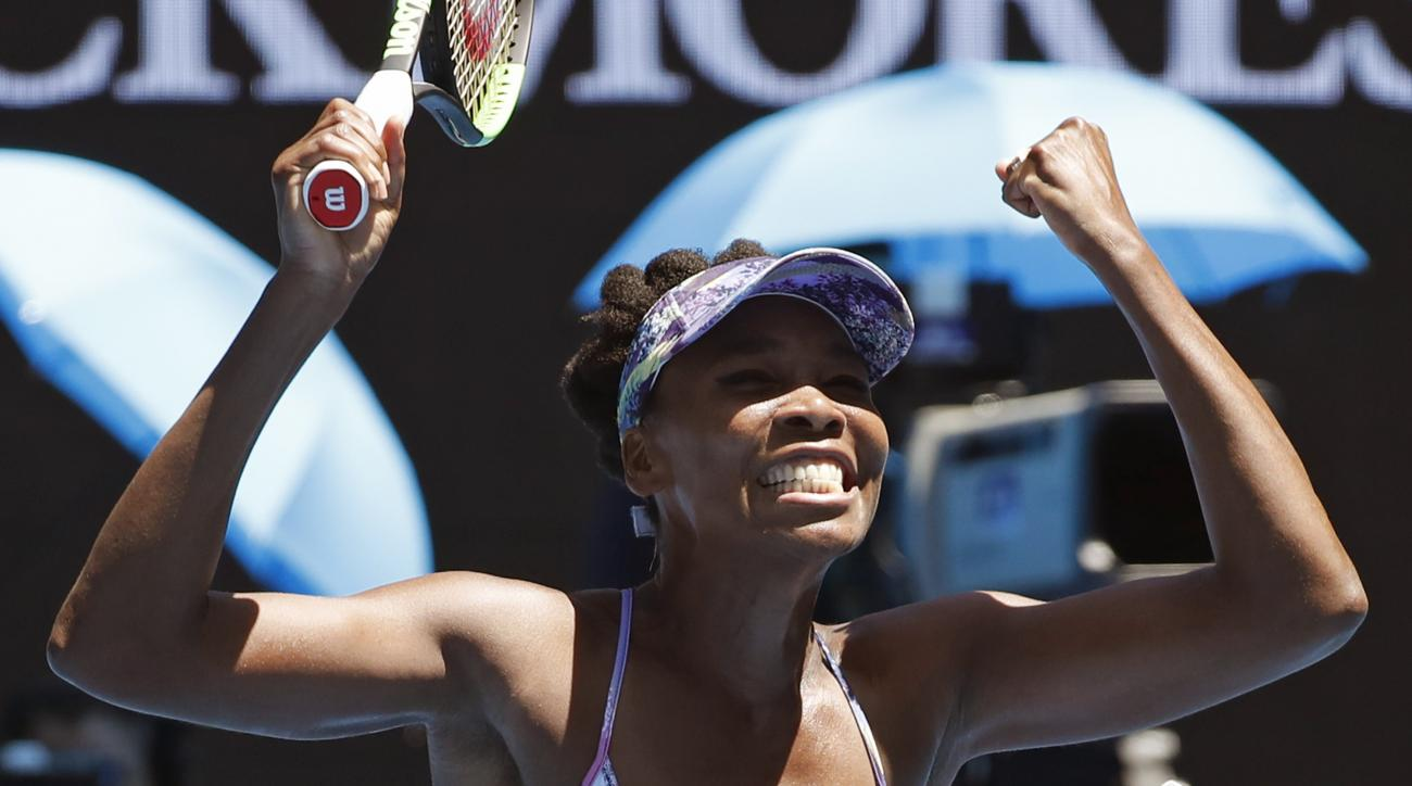 United States' Venus Williams celebrates after defeating Russia's Anastasia Pavlyuchenkova during their quarterfinal at the Australian Open tennis championships in Melbourne, Australia, Tuesday, Jan. 24, 2017. (AP Photo/Kin Cheung)