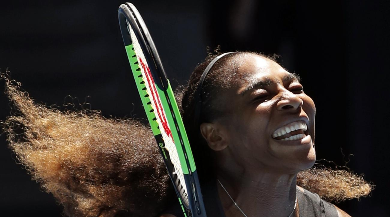 United States' Serena Williams celebrates her win over Britain's Johanna Konta during their quarterfinal at the Australian Open tennis championships in Melbourne, Australia, Wednesday, Jan. 25, 2017. (AP Photo/Dita Alangkara)