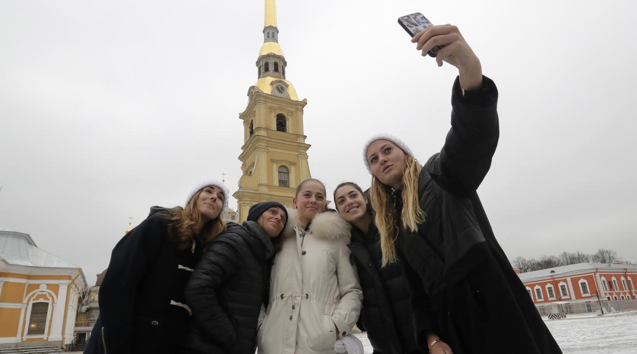 From left: tennis players Alize Cornet of France, Roberta Vinci of Italy, Jelena Ostapenko of Latvia, Ana Konjuh of Croatia and Kristina Mladenovic of France, participants of the St. Petersburg Ladies Trophy-2017 tennis tournament, make a selfie photo tog