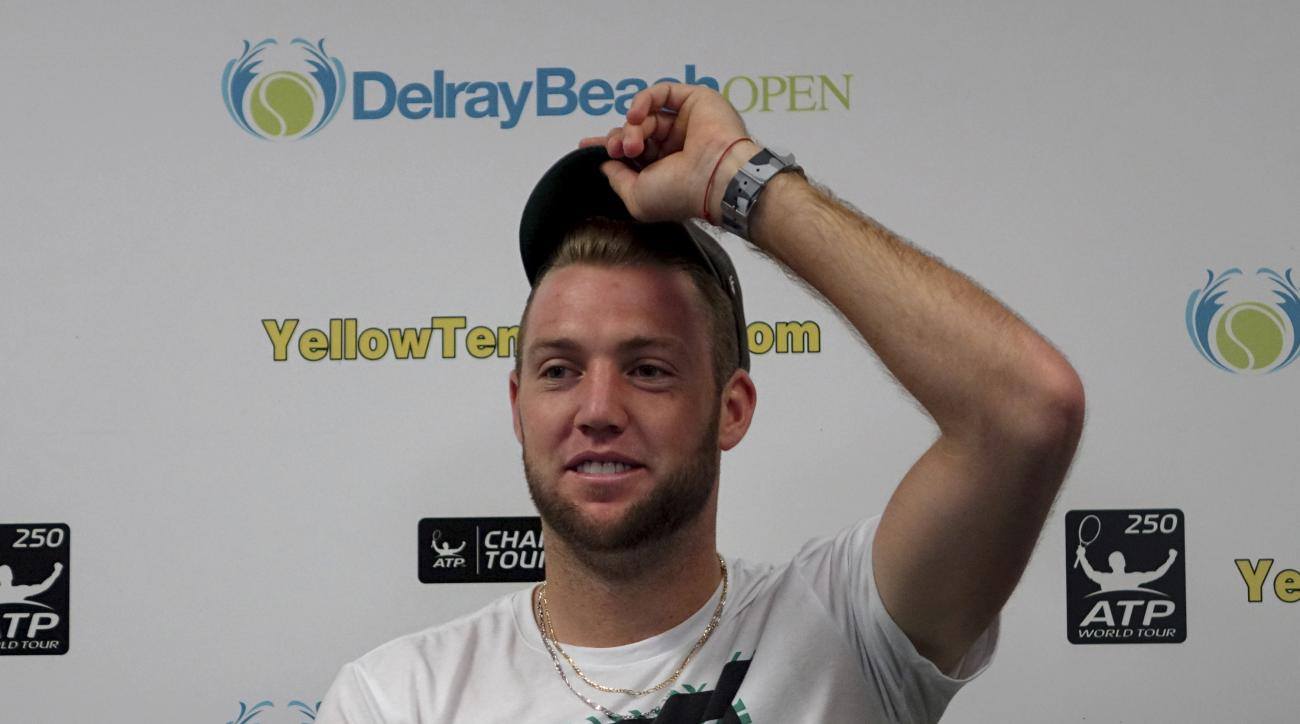 Jack Sock speaks during a news conference at the Delray Open tennis tournament in Delray Beach, Fla., Sunday, Feb. 26, 2017. Sock's opponent in the final, Milos Raonic, of Canada, pulled out because of an injury. (Joe Cavaretta/South Florida Sun-Sentinel