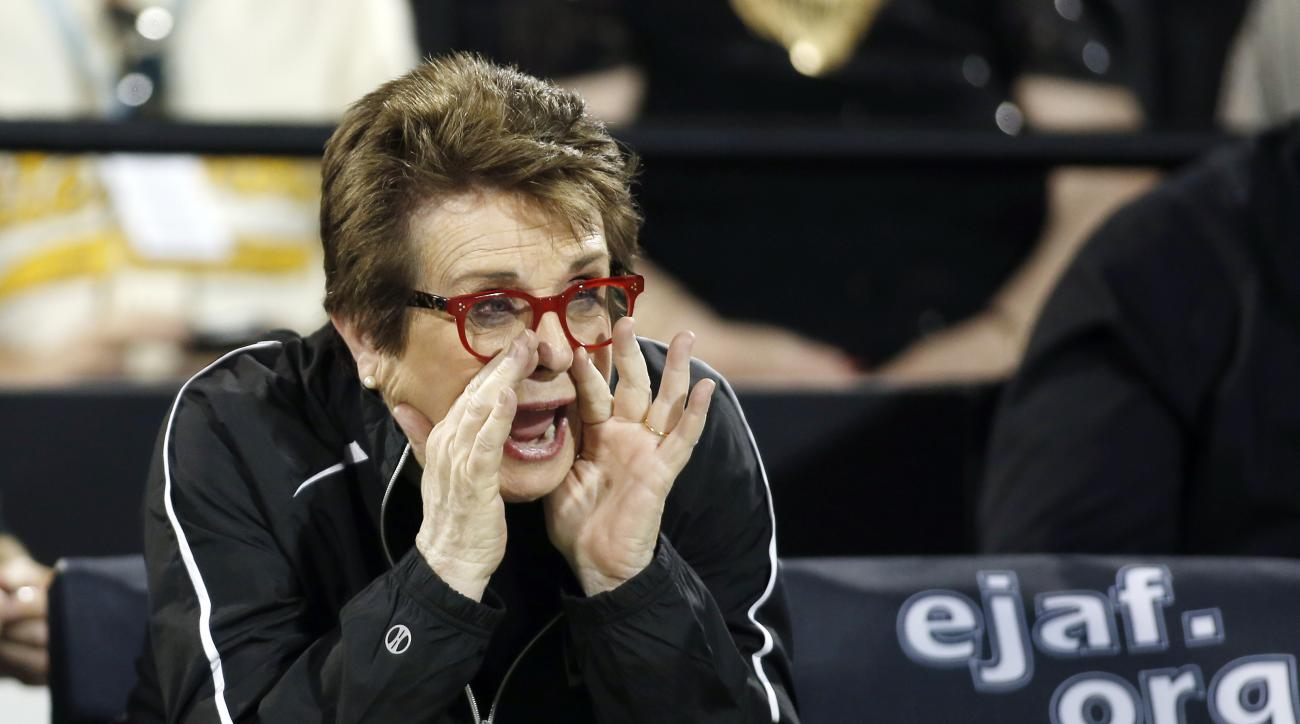 FILE - In this Oct. 10, 2016, file photo, Billie Jean King instructs her team during a World Team Tennis exhibition to benefit the Elton John AIDS Foundation in Las Vegas. King said Monday, March 13, 2017, she is selling World Team Tennis 42 years after t