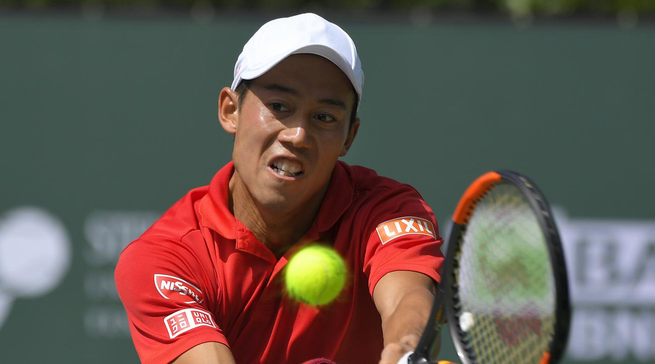Kei Nishikori, of Japan, returns a shot against Donald Young at the BNP Paribas Open tennis tournament, Wednesday, March 15, 2017, in Indian Wells, Calif. Nishikori won 6-2, 6-4. (AP Photo/Mark J. Terrill)