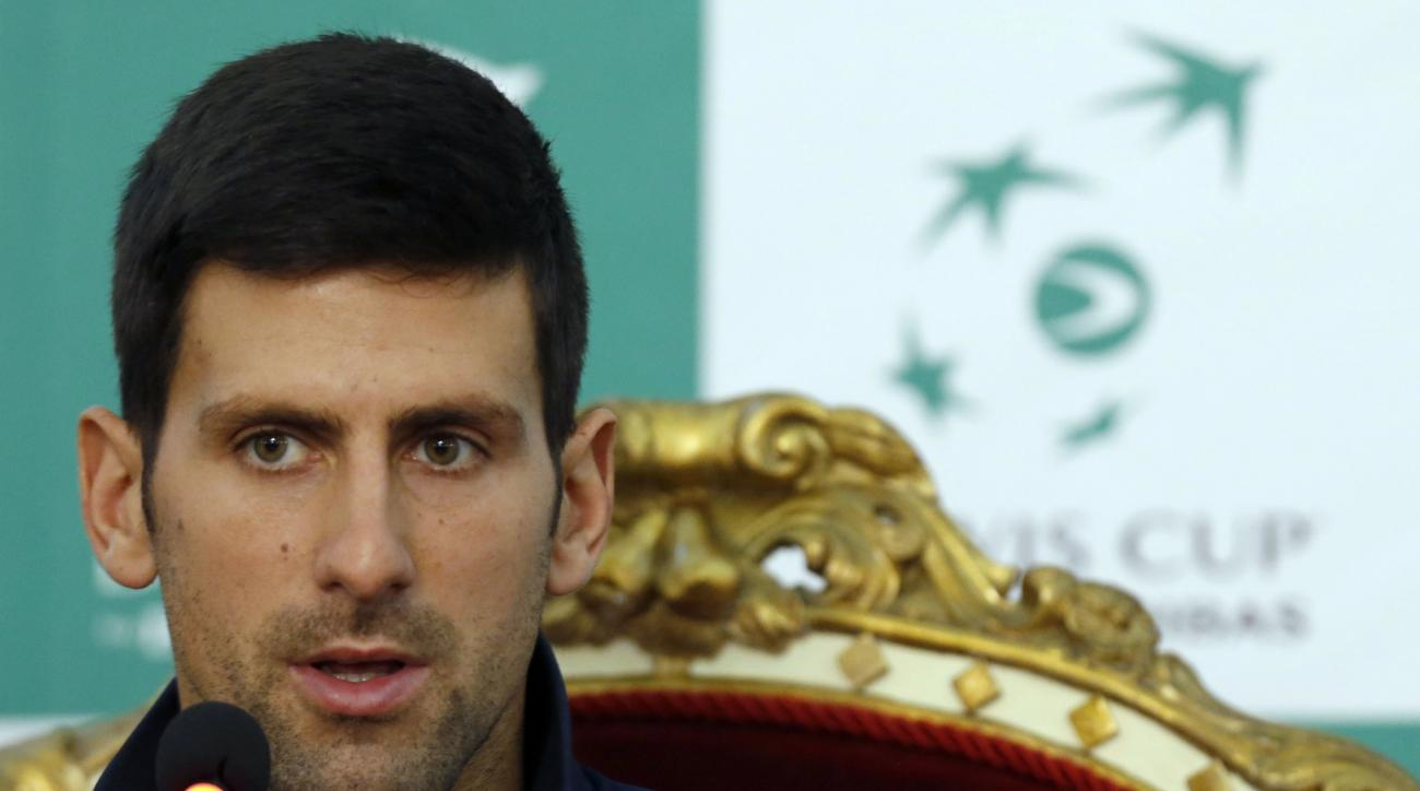 Serbian Davis Cup team player Novak Djokovic speaks during a press conference after the draw for the tennis Davis Cup quarterfinal match in Belgrade, Serbia, Thursday, April 6, 2017. Serbia will play against Spain for the Davis Cup quarterfinal starting o
