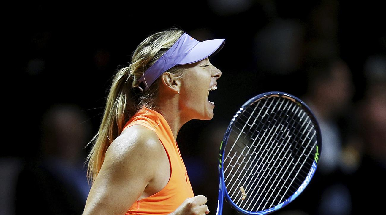 Russia's Maria Sharapova reacts after winning 7-5, 6-3 against Italy's Roberta Vinci at the Porsche Tennis Grand Prix in Stuttgart, Germany, Wednesday, April 26, 2017. It was Sharapova's first match after a 15 months lasting doping ban. (AP Photo/Michael