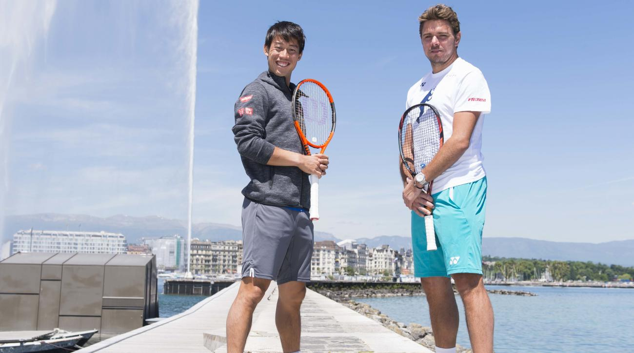 "Switzerland's tennis player Stanislas ""Stan"" Wawrinka, right, and Japan tennis player Kei Nishikori, left, pose near the Geneva's water jet before the Geneva Open ATP 250 Tennis tournament, in Geneva, Switzerland, Monday, May 22, 2017. (Thomas Delley/Keys"
