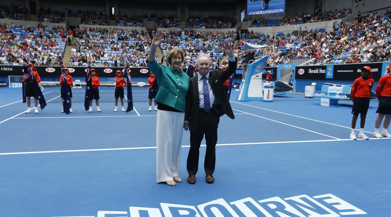 In this Jan. 26, 2015 photo, Australian tennis greats Margaret Court, left, and Rod Laver wave during the official launch of the remodeled Margaret Court Arena at the Australian Open tennis championship in Melbourne. Former tennis great and now Christian