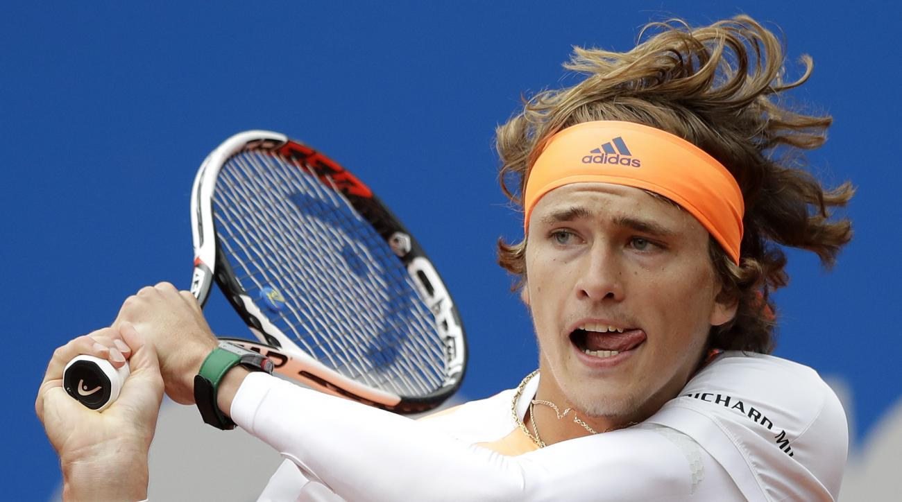 FILE - In this May 7, 2017, file photo, Alexander Zverev returns the ball to Guido Pella during the men's final match at the ATP tennis tournament in Munich, Germany. Heading into the French Open, the men at Nos. 1-5 in the ATP rankings are all 30 or olde