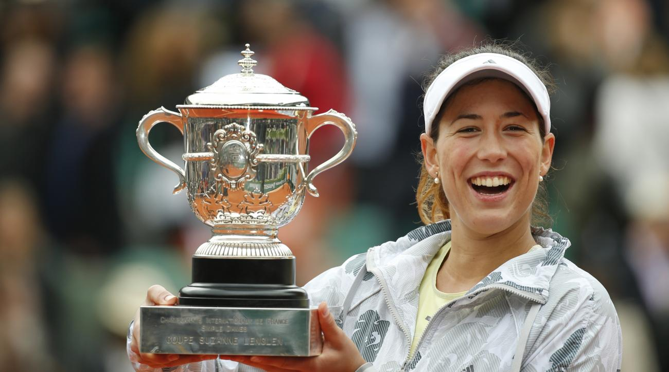 FILE - In this June 4, 2016, file photo, Garbine Muguruza holds the trophy after winning the women's final of the French Open tennis tournament against Serena Williams, in Paris, France. Muguruza will be competing in the French Open. (AP Photo/Alastair Gr
