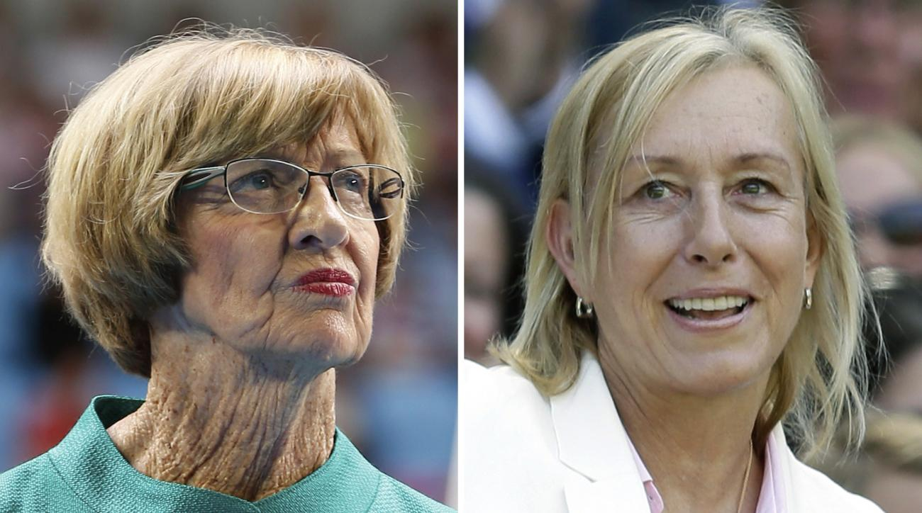 FILE - At left, in a  Jan. 26, 2015, file photo, Australian tennis great Margaret Court looks on during the official launch of the remodeled Margaret Court Arena at the Australian Open tennis championship in Melbourne, Australia. At right, in a July 4, 20