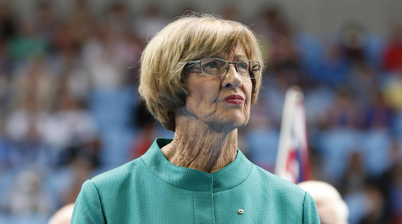 FILE - In this Jan. 26, 2015, file photo, Australian tennis great Margaret Court looks on during the official launch of the remodeled Margaret Court Arena at the Australian Open tennis championship in Melbourne, Australia. The New York Times reported on J