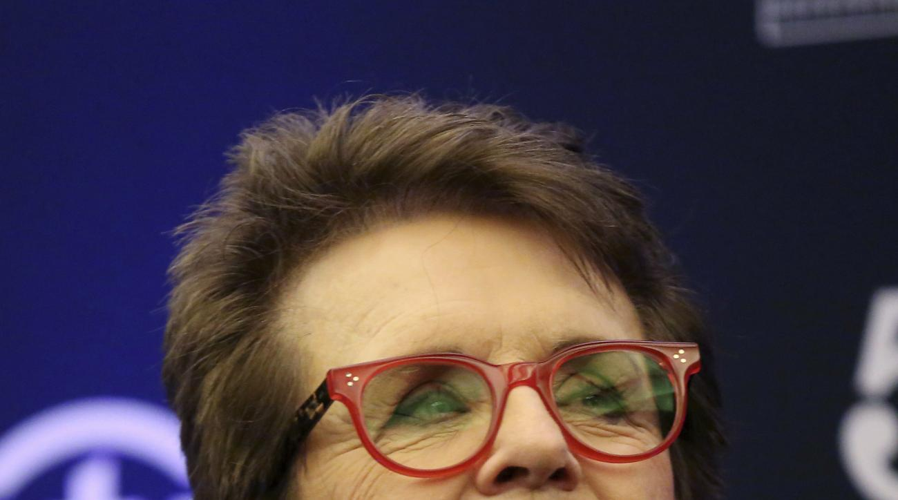 FILE - In this Oct. 10, 2016 file photo, Billie Jean King speaks to members of the media prior to a World Team Tennis exhibition in Las Vegas. Baby boomer and tennis great King had some good things to say about millennials in a speech to Northwestern Univ
