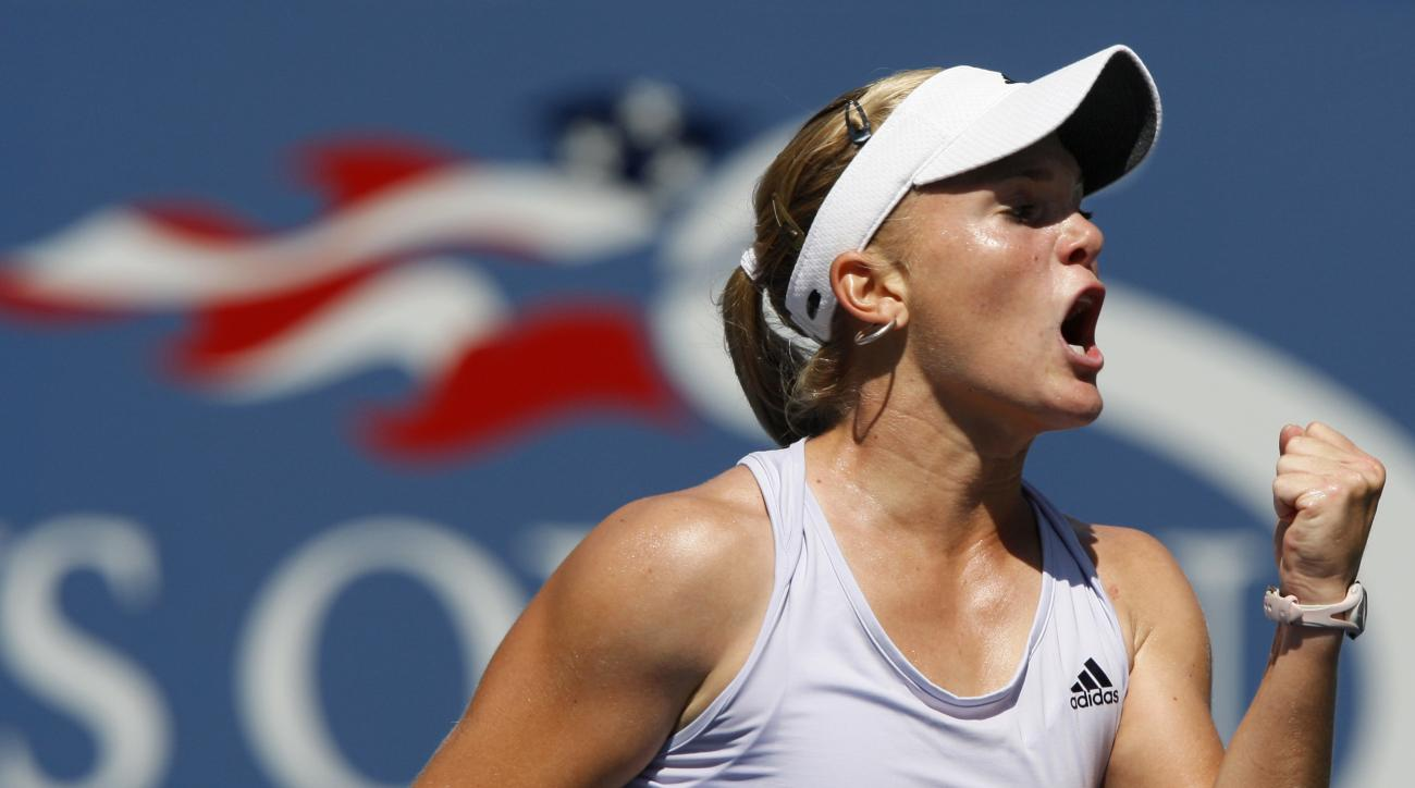 FILE - In this Sept. 2, 2009, file photo, Melanie Oudin, of the United States, reacts during her match against Elena Dementieva, of Russia, in the second round of the U.S. Open tennis tournament in New York. Oudin, a surprise 2009 U.S. Open quarterfinalis