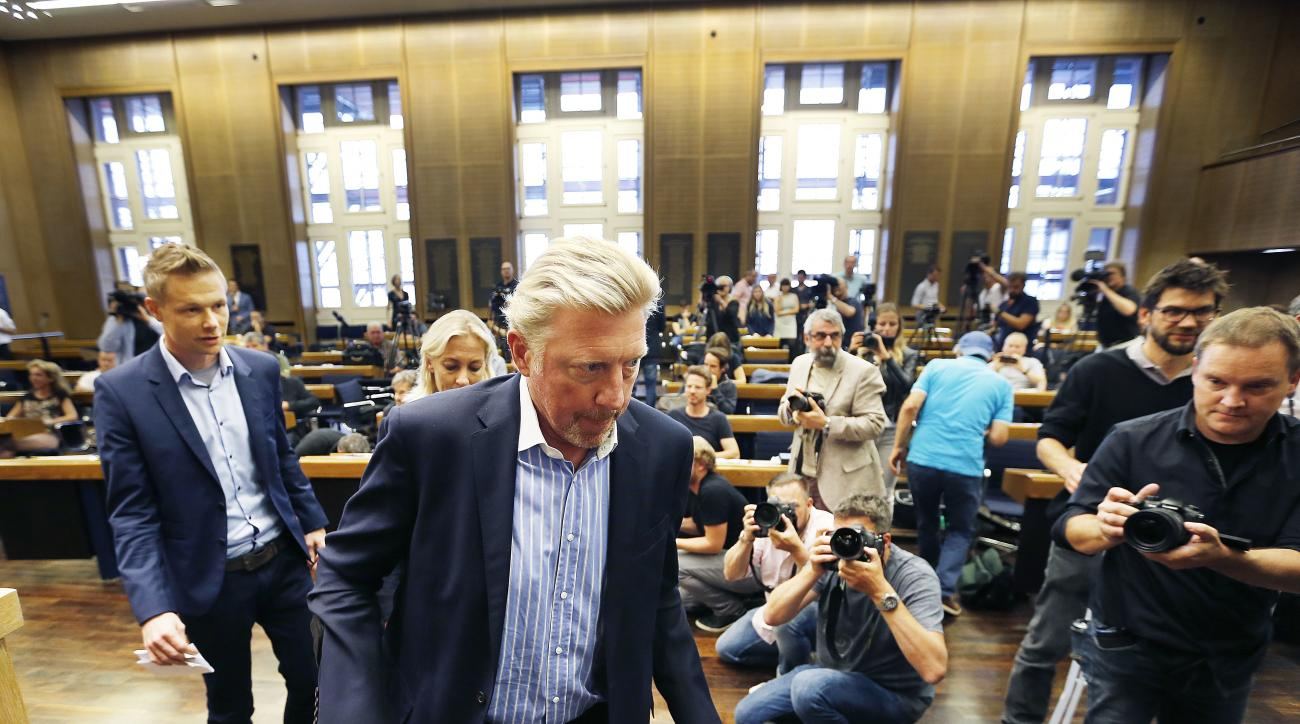German tennis legend Boris Becker arrives on crutches after an ankle surgery some weeks ago,  to attend a news conference seeking about his new role in the German Tennis Federation in the town hall in Frankfurt, Germany, Wednesday, Aug. 23, 2017. As 'Head