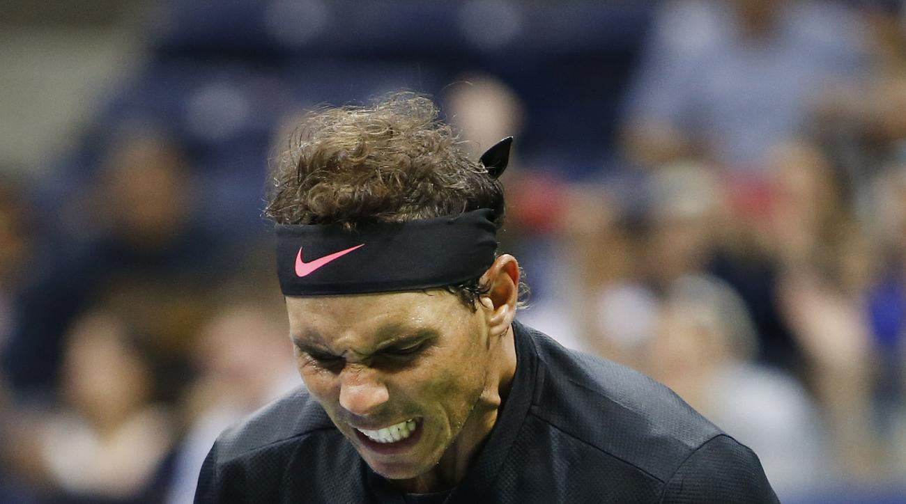 Rafael Nadal, of Spain, reacts after defeating Taro Daniel, of Japan, at the U.S. Open tennis tournament, early Friday, Sept. 1, 2017, in New York. (AP Photo/Jason DeCrow)