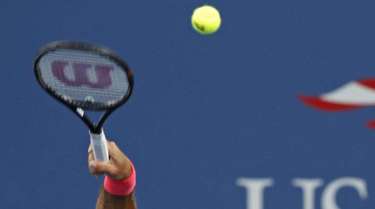 Juan Martin del Potro, of Argentina, serves to Dominic Thiem, of Austria, during the fourth round of the U.S. Open tennis tournament, Monday, Sept. 4, 2017, in New York. (AP Photo/Adam Hunger)
