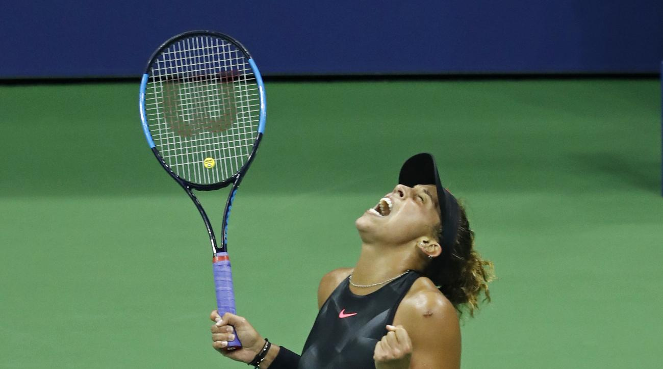 Madison Keys, of the United States, celebrates her winning a match against Elina Svitolina, of Ukraine, during the fourth round of the U.S. Open tennis tournament, Monday, Sept. 4, 2017, in New York. (AP Photo/Adam Hunger)