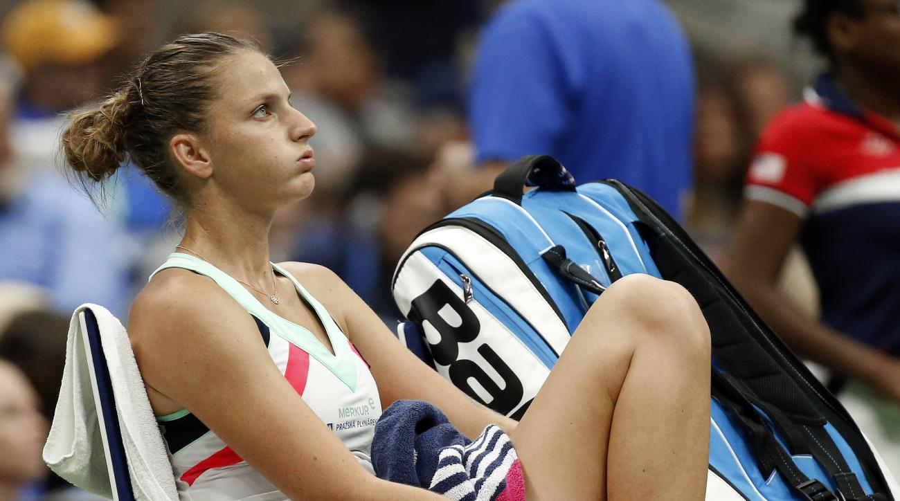 Karolina Pliskova, of Czech Republic, pauses in her chair during her match with CoCo Vandeweghe, of the United States, during the quarterfinals of the U.S. Open tennis tournament, Wednesday, Sept. 6, 2017, in New York. (AP Photo/Jason Decrow)