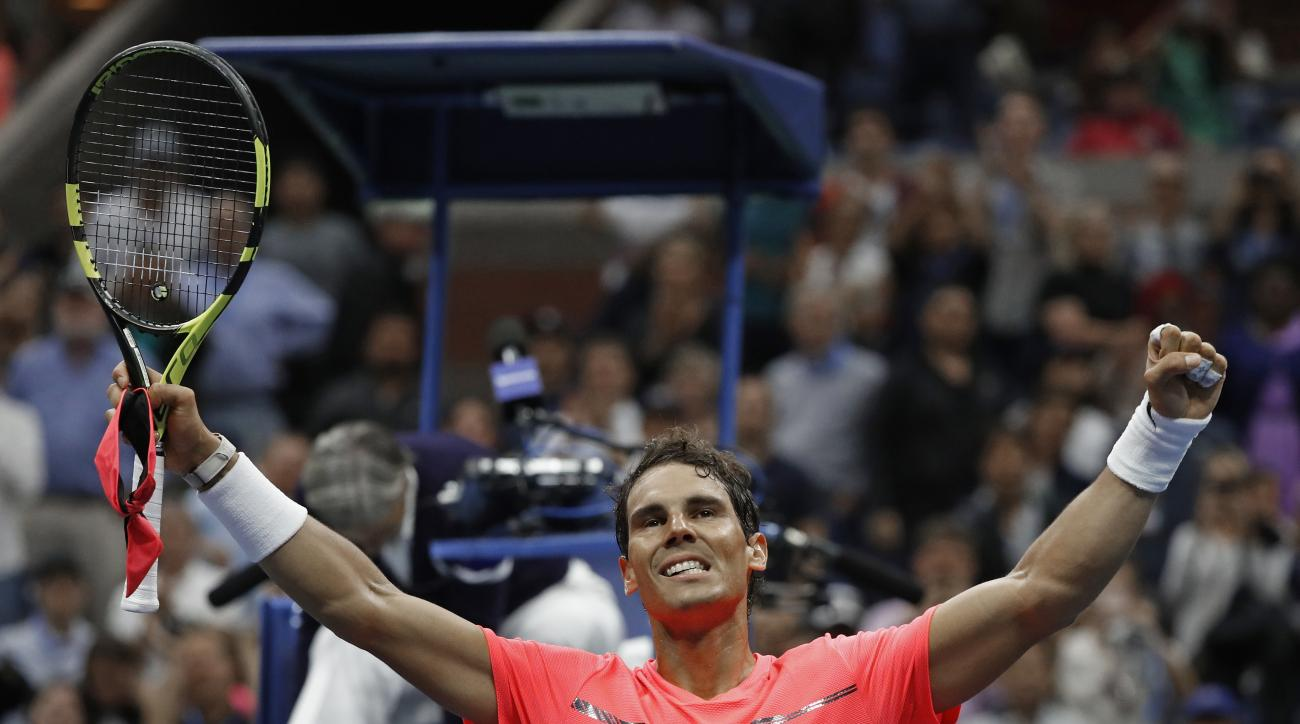 Rafael Nadal, of Spain, celebrates after winning his match against Andrey Rublev, of Russia, during the quarterfinals of the U.S. Open tennis tournament, Wednesday, Sept. 6, 2017, in New York. (AP Photo/Adam Hunger)