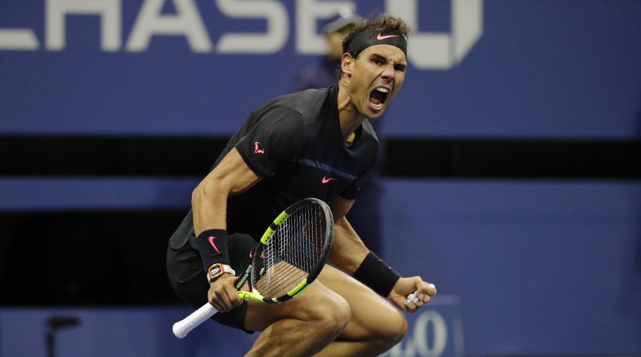 Rafael Nadal, of Spain, reacts after beating Juan Martin del Potro, of Argentina, during the semifinals of the U.S. Open tennis tournament, Friday, Sept. 8, 2017, in New York. (AP Photo/Julio Cortez)