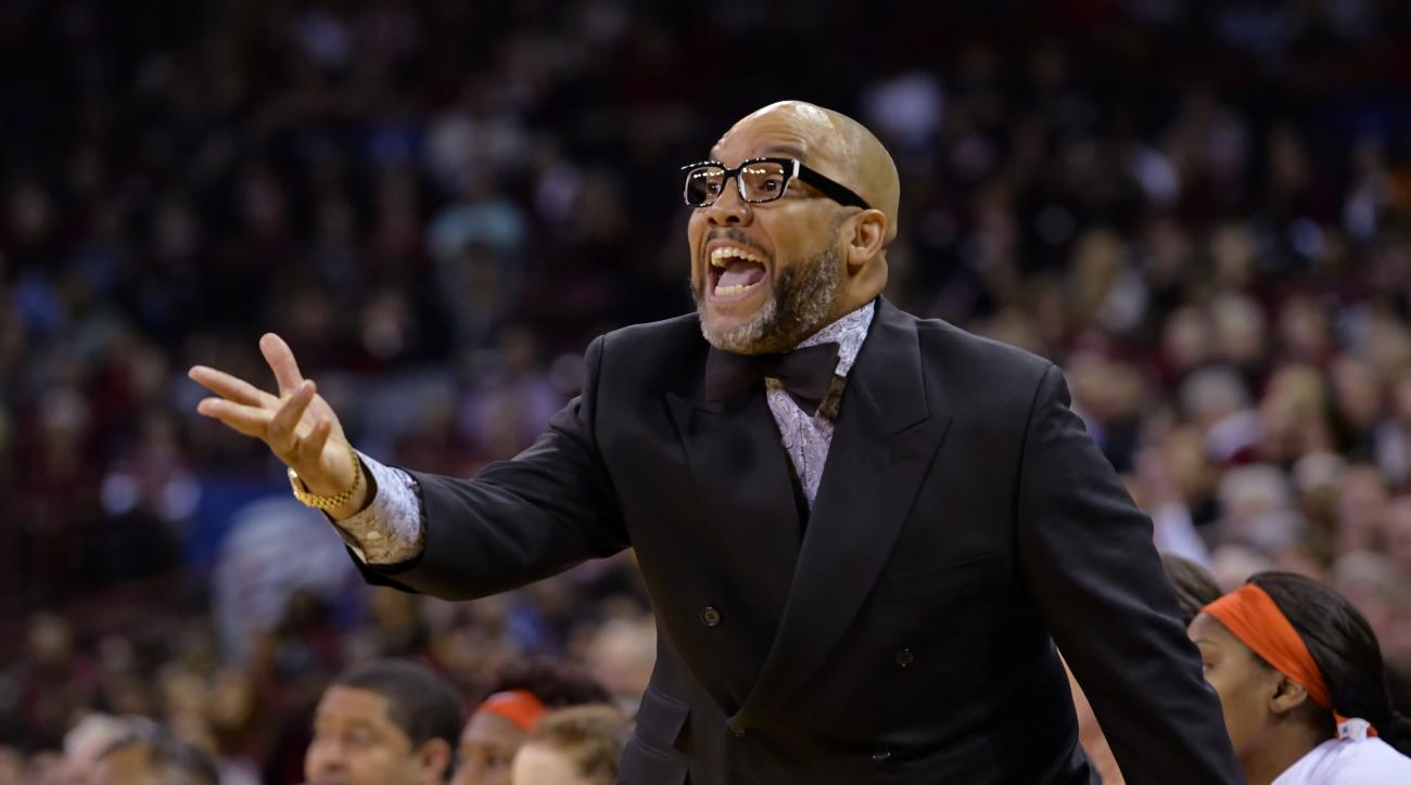 Syracuse coach Quentin Hillsman reacts during the first half of a  basketball game against South Carolina in the second round of the NCAA tournament Sunday, March 22, 2015, in Columbia, S.C. (AP Photo/Richard Shiro)