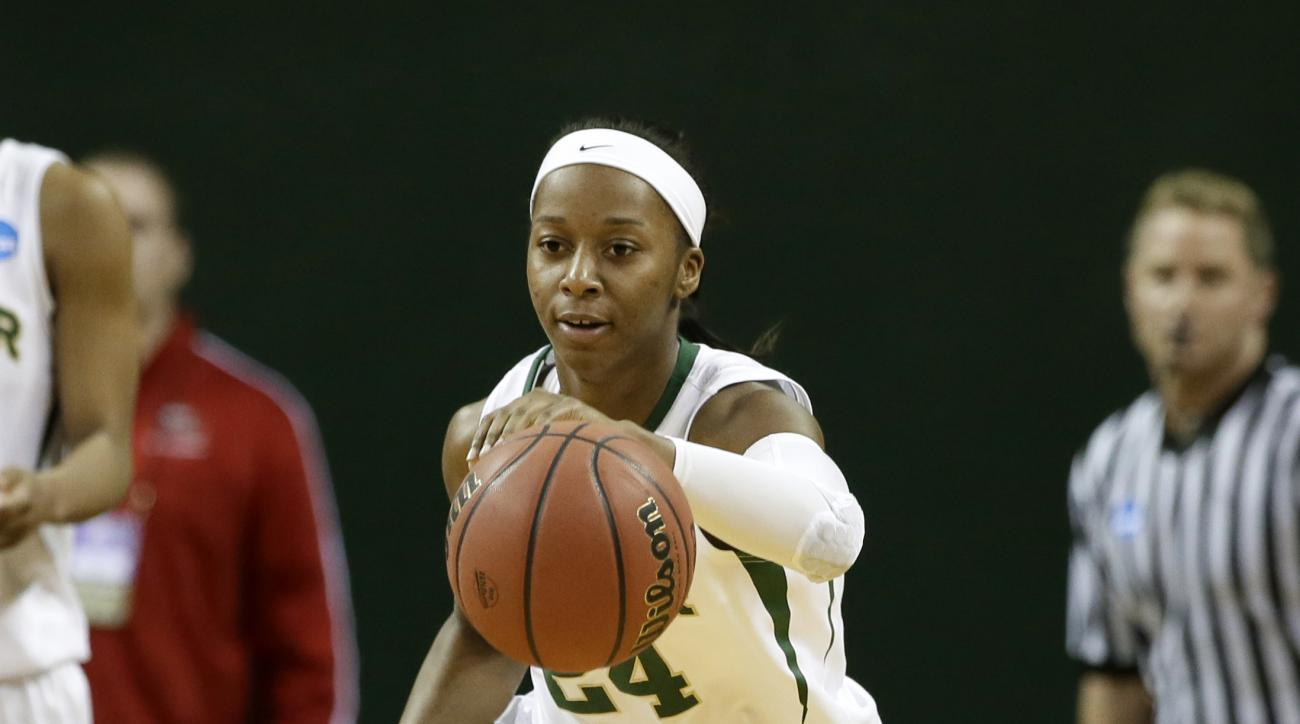 Baylor's Ieshia Small (24) comes away with a rebound against Western Kentucky in a first-round game in the NCAA women's college basketball tournament, Saturday, March 22, 2014, in Waco, Texas. Baylor won 87-74. (AP Photo/Tony Gutierrez)