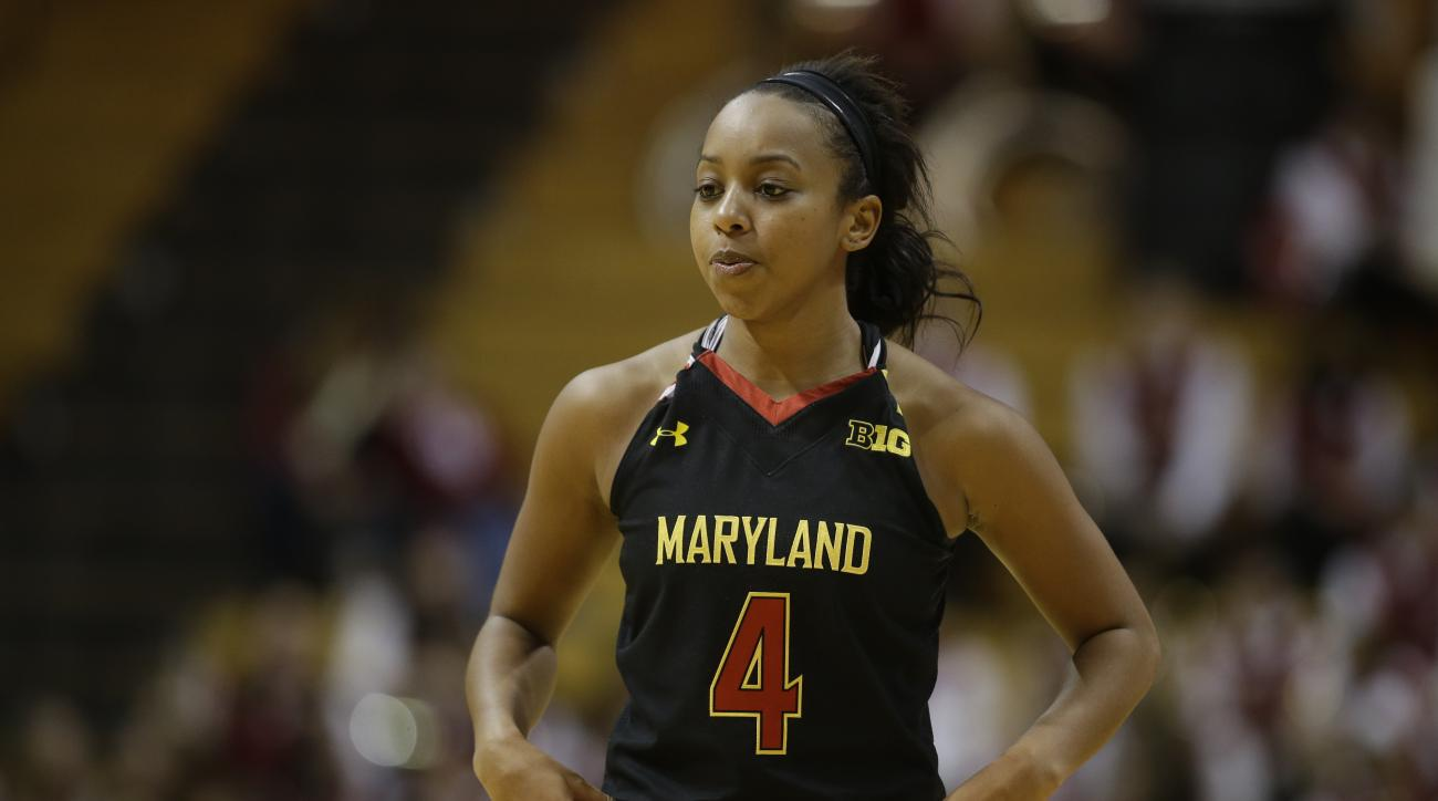 Maryland's Lexie Brown (4) in action during the second half of an NCAA college basketball game against Indiana Sunday, Jan. 25, 2015, in Bloomington, Ind. Maryland won 84-74. (AP Photo/Darron Cummings)