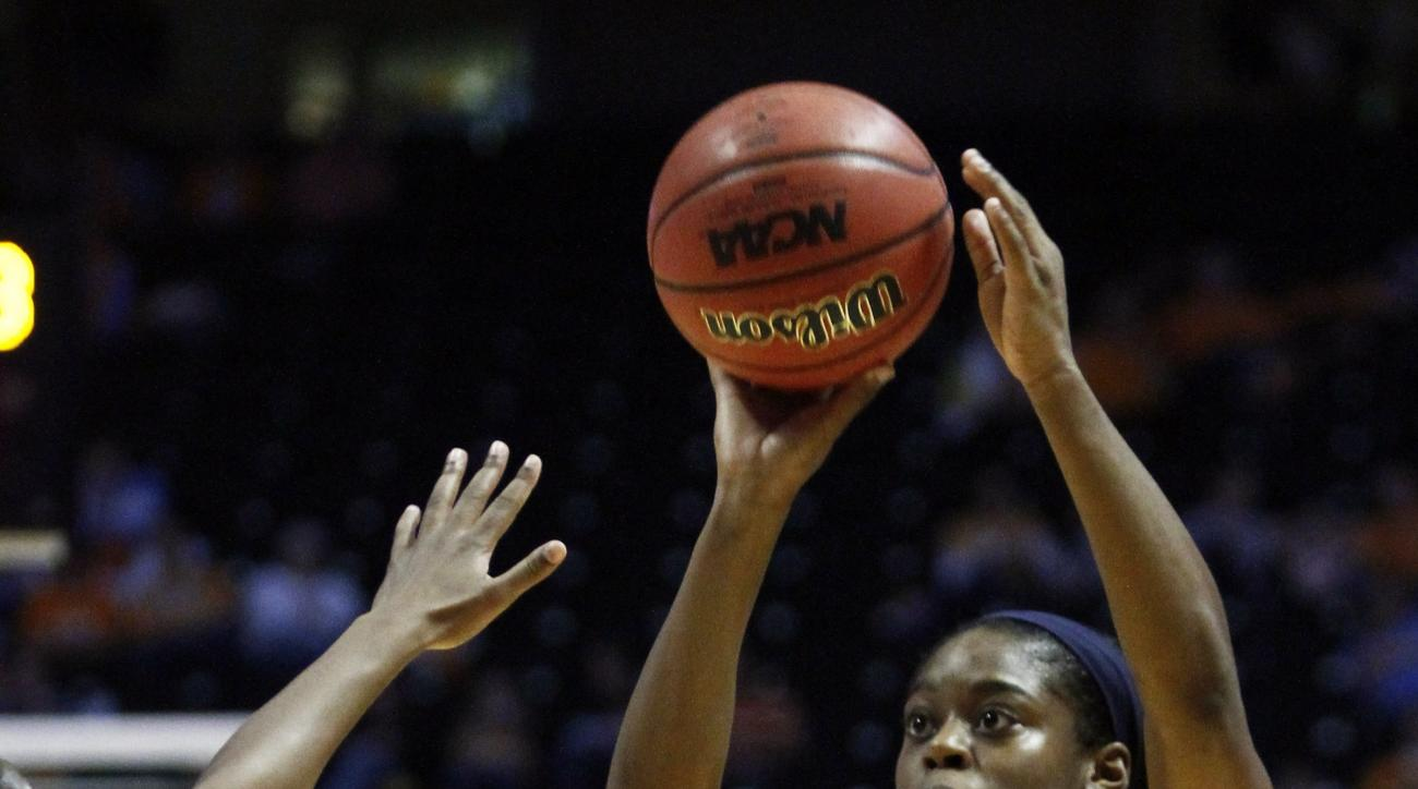 Georgia Tech guard Kaela Davis (3) shoots the ball in the first half of an NCAA college basketball game against Tennessee on Sunday, Nov. 17, 2013, in Knoxville, Tenn. (AP Photo/Wade Payne)