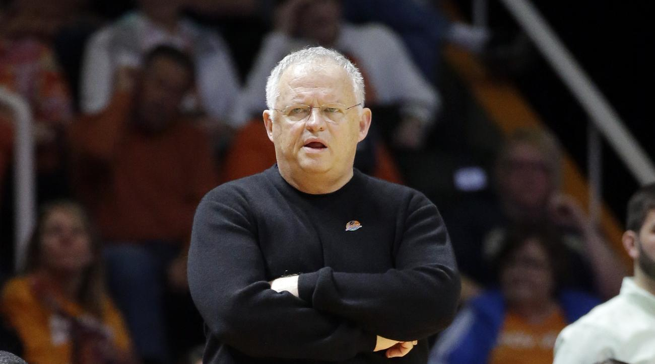 Chattanooga head coach Jim Foster watches from the bench in the first half of an NCAA women's college basketball tournament game against Pittsburgh in the round of 64 Saturday, March 21, 2015, in Knoxville, Tenn. (AP Photo/Mark Humphrey)