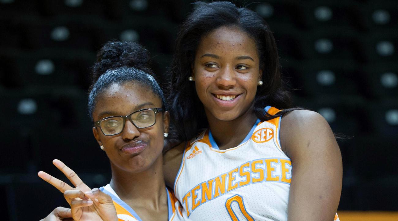 FILE - In this Oct. 29, 2014, file photo, Tennessee's Diamond DeShields, left, and Jordan Reynolds pose during NCAA college basketball media dayin Knoxville, Tenn. After sitting out this past season as a transfer from North Carolina, DeShields is about to