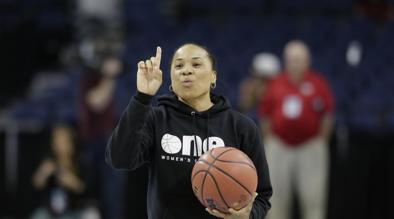FILE - In this April 4, 2015, file photo, South Carolina head coach Dawn Staley speaks during a practice at the Final Four of the NCAA college women's basketball tournament in Tampa, Fla. The Gamecocks run to the Final Four has made Columbia a destination