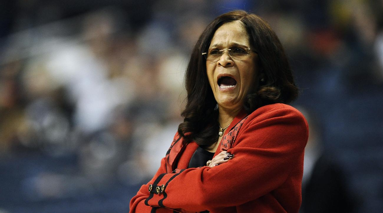 Rutgers head coach C. Vivian Stringer calls to her team during the first half of a women's college basketball game against Seton Hall in the first round of the NCAA tournament, Saturday, March 21, 2015, in Storrs, Conn. (AP Photo/Jessica Hill)