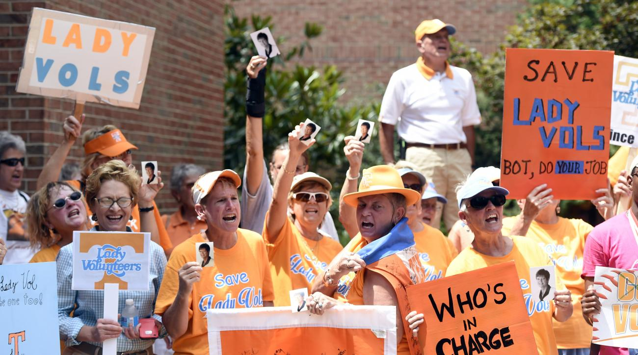 Protestors rally in support of the Lady Volunteers nickname before the University of Tennessee Board of Trustees annual meeting at Hollingsworth Auditorium, Thursday, June 25, 2015, in Knoxville, Tenn. The board did not address the issue as the university