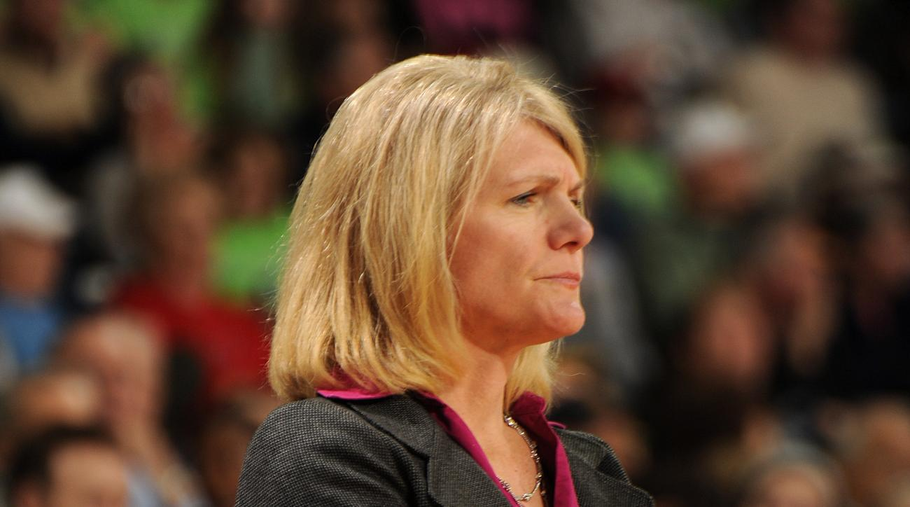 Saint Joseph's coach Cindy Griffin watches her team during the first half of an NCAA college basketball game against Notre Dame, Sunday, Dec. 21, 2014, in South Bend, Ind. (AP Photo/Joe Raymond)