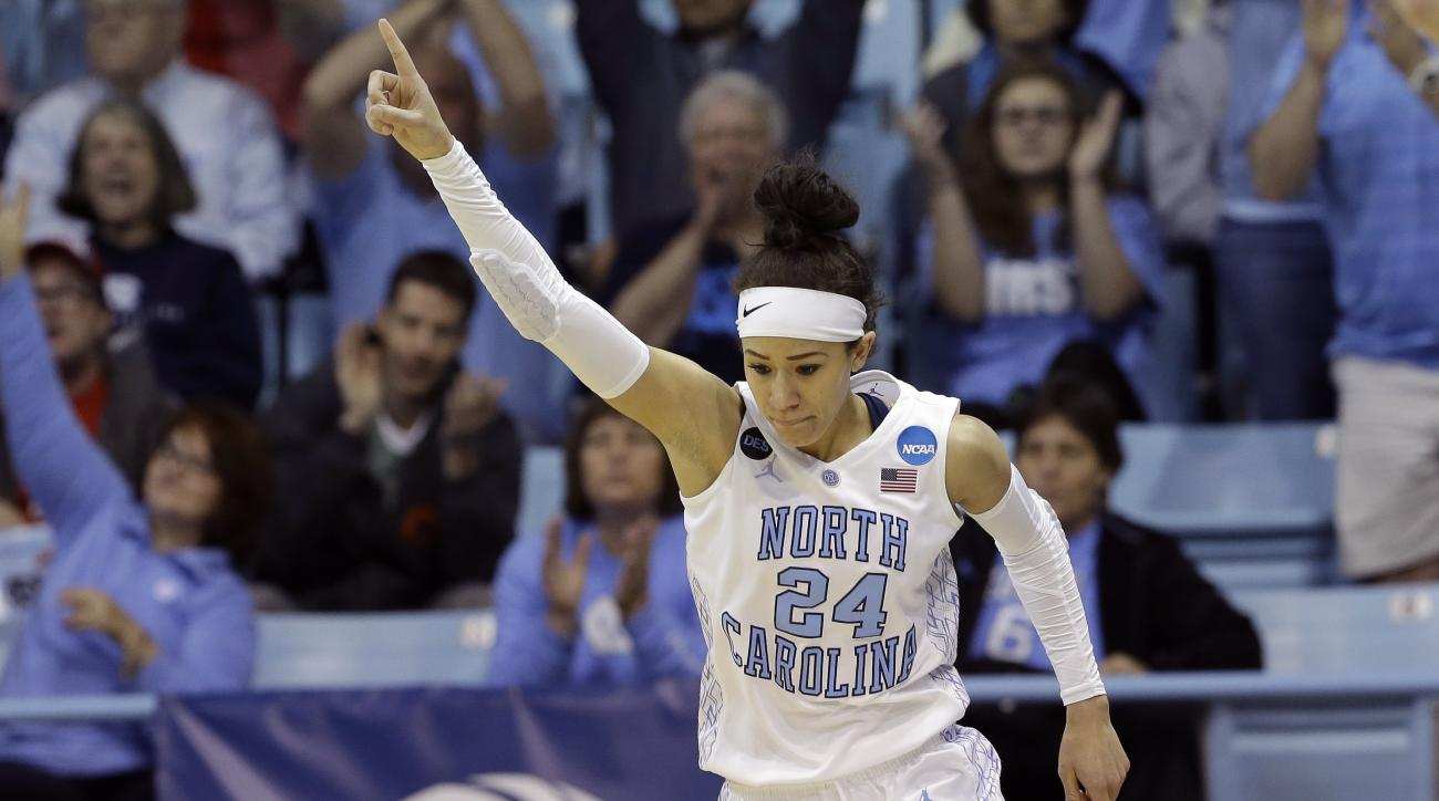North Carolina's Jessica Washington (24) reacts following a basket against Liberty during the first half of a women's college basketball game in the first round of the NCAA tournament in Chapel Hill, N.C., Saturday, March 21, 2015.  North Carolina won 71-