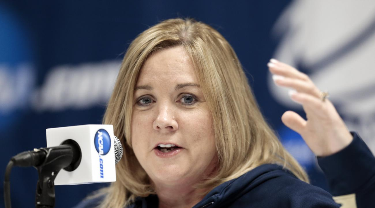 Pittsburgh head coach Suzie McConnell-Serio answers questions during a news conference Sunday, March 22, 2015, in Knoxville, Tenn. Pittsburgh is to play Tennessee in a second-round NCAA women's college basketball tournament game Monday. (AP Photo/Mark Hum