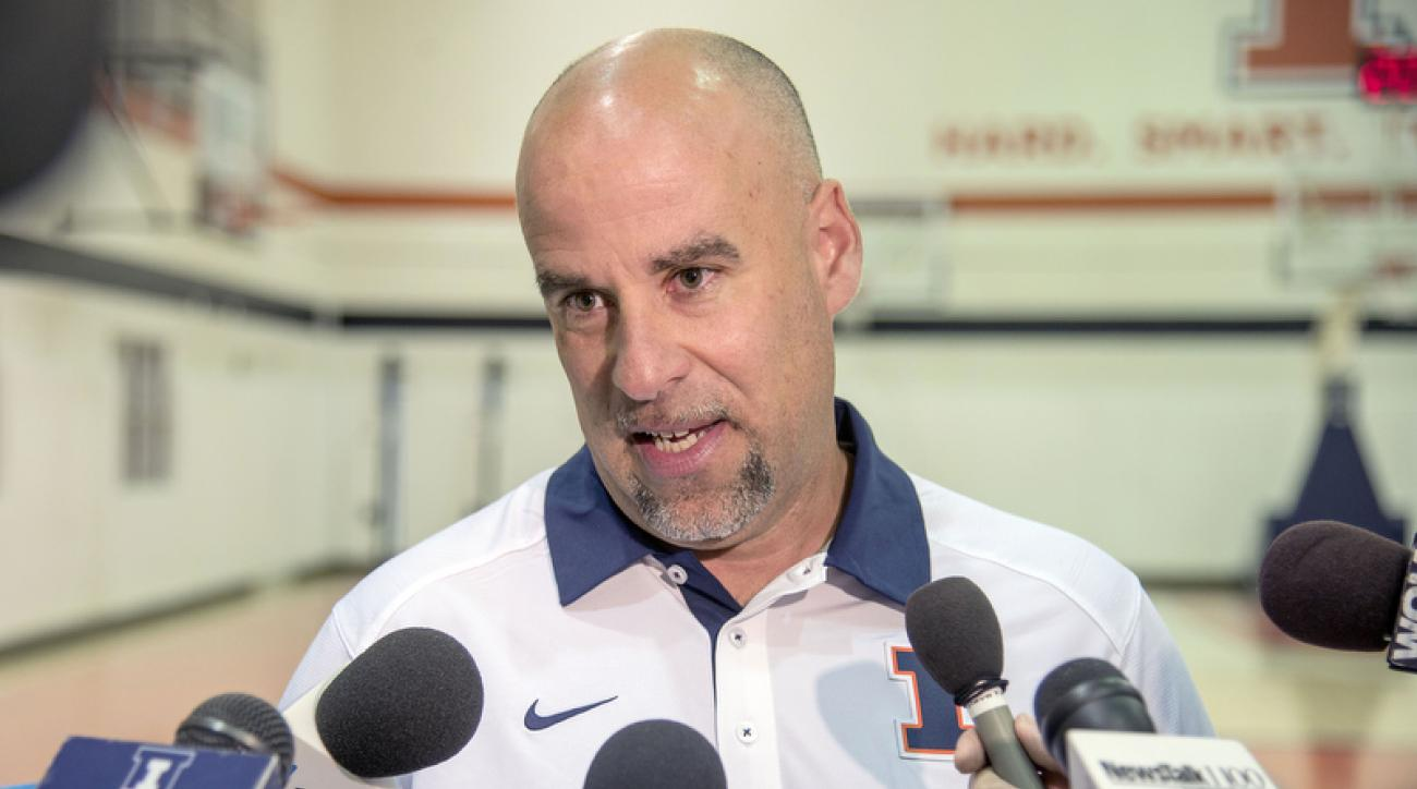 Illinois women's basketball coach Matt Bollant talks with reporters at the Ubben Basketball Practice Complex in Champaign, Ill., Wednesday, Aug. 5, 2015.  Seven former players sued the university, coach Matt Bollant, athletic director Mike Thomas and othe