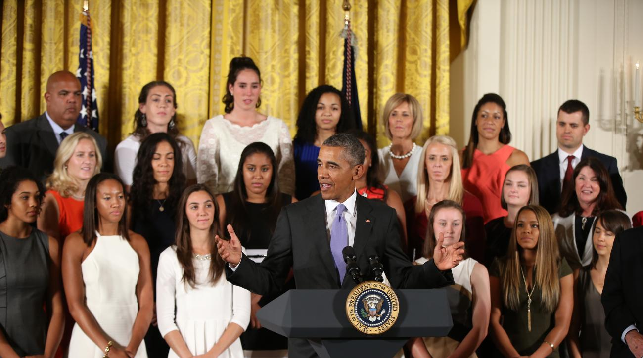 President Barack Obama speaks in the East Room of the White House in Washington, Tuesday, Sept. 15, 2015, during a ceremony to honor the 2015 NCAA Women's Basketball Champion University of Connecticut Huskies. (AP Photo/Andrew Harnik)