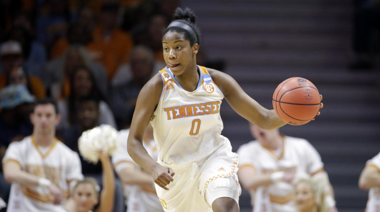 Tennessee guard Jordan Reynolds (0) plays against Pittsburgh during the first half of a college basketball game in the second round of the NCAA women's tournament Monday, March 23, 2015, in Knoxville, Tenn. (AP Photo/Mark Humphrey)