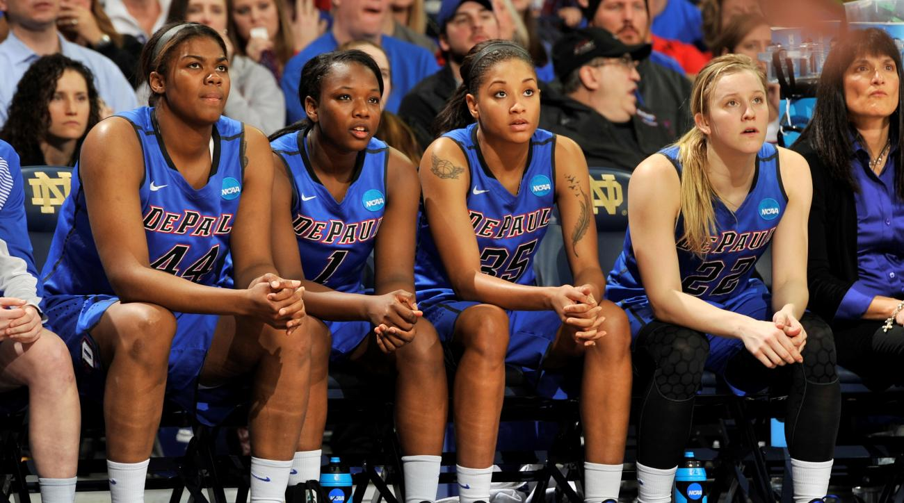 The DePaul bench looks on late in the second half of a women's college basketball game against Notre Dame in the second round of the NCAA tournament in South Bend, Ind., Sunday, March 22, 2015. From left, Brandi Harvey-Carr, Ashton Millender, Mart'e Grays