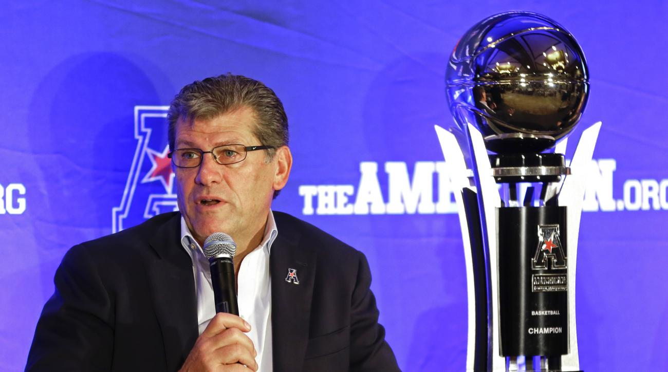 Connecticut head coach Geno Auriemma answers questions during the American Athletic Conference women's basketball media day, Monday, Oct. 26, 2015, in Orlando, Fla. (AP Photo/John Raoux)