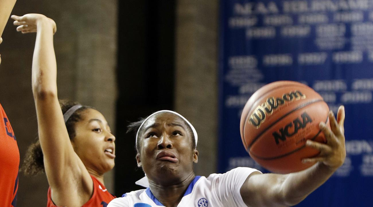Dayton's Amber Deane, left, defends as Kentucky's Linnae Harper shoots during the second half of a women's college basketball game in the second round of the NCAA tournament in Lexington, Ky., Sunday, March 22, 2015. Dayton won 99-94. (AP Photo/James Cris