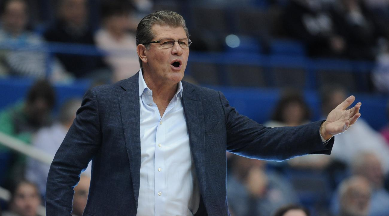 Connecticut head coach Geno Auriemma reacts during the first half of an NCAA college basketball exhibition game against Lubbock Christian, Monday, Nov. 2, 2015, in Hartford, Conn. (AP Photo/Jessica Hill)