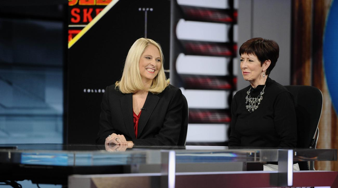 Notre Dame head coach Muffet McGraw, right, sits with Maryland head coach Brenda Frese for a live interview on SportsCenter at ESPN, Tuesday, Nov. 3, 2015, in Bristol, Conn.  McGraw and Frese were on hand for a NCAA women's basketball media day on the ESP